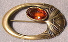 Vintage Unsigned George Steere Nouveau Brass Sash Pin