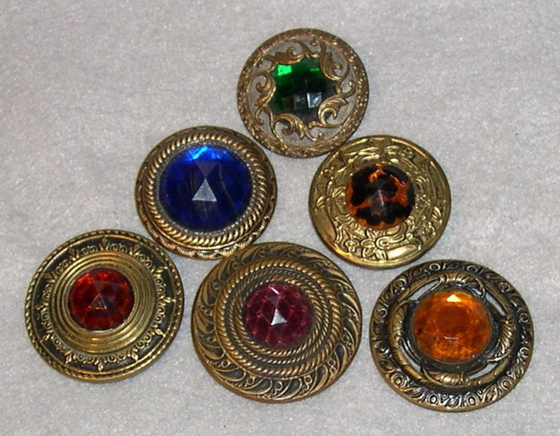 "Antique ""Gay 90s"" Multi Jewels Button, MOP Steel Cups"