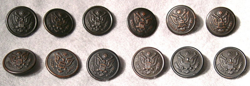 Vintage 12 WWI or WWII Lg. Military Uniform Eagle Buttons