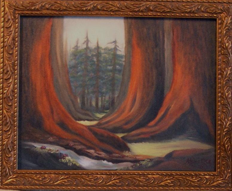 Signed Oil O/C Painting Landscape Redwoods Trees
