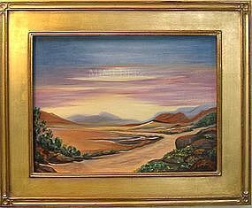 Signed American Oil O/C Landscape Painting Road