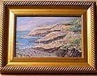 Signed American Original Oil Mini Painting Maine Coast