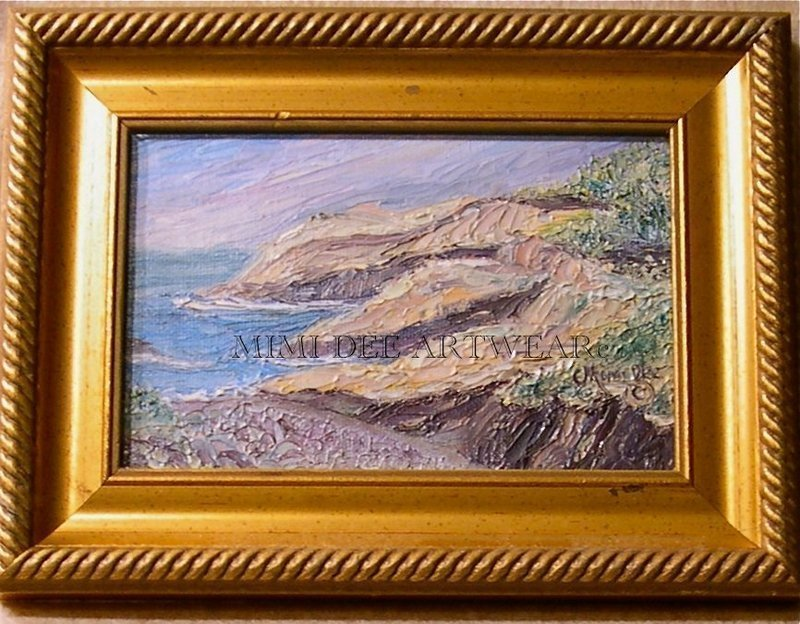 Signed American Original Oil Mini Painting Maine Coast