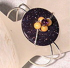Signed Studio Sterling Bracelet Cuff Purple Blue Goldstone