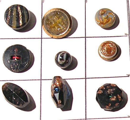 63 Victorian Goldstone Aventurine Button Paris, Sash