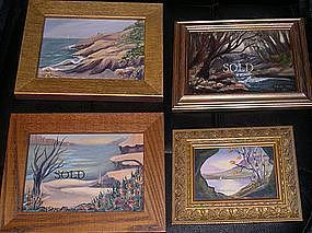 2 Left: Signed Mini Oil Landscape Painting Beach Boat Birches