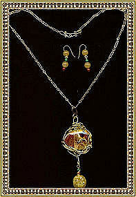 Signed 4 Piece Necklace Pendant Set Mookite & Gems