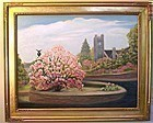 Signed Oil American Landscape Painting Magnolia
