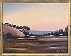 Signed American Oil Linen Landscape Painting Harbor