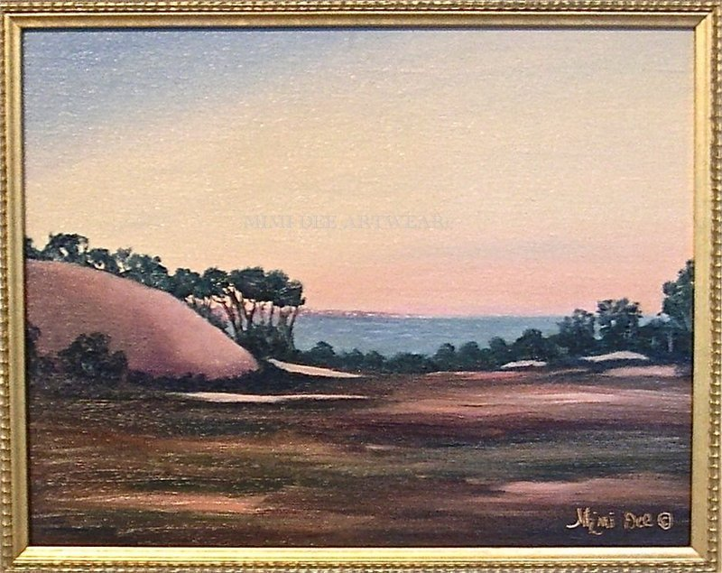 Signed American Oil Linen Landscape Painting Harbor