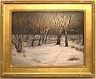 Signed American Oil Snow Backyard Landscape Winter Painting