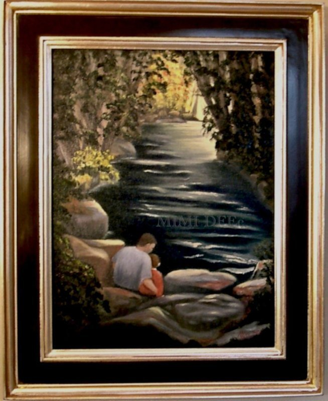 Signed American Oil Landscape River Painting Father's Day