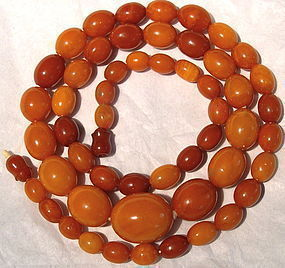 Antique Natural Butterscotch Amber Necklace Barrel