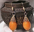 Vintage Natural Butterscotch Amber Earrings Filigree