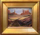 Signed American Oil Landscape Painting Southwest