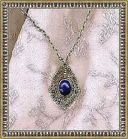 Vintage F. Peruzzi Sterling Necklace Pendant Lapis
