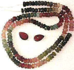 New Unf. Multi Color Tourmaline Rondelle Beads Strand, 2 Briolettes