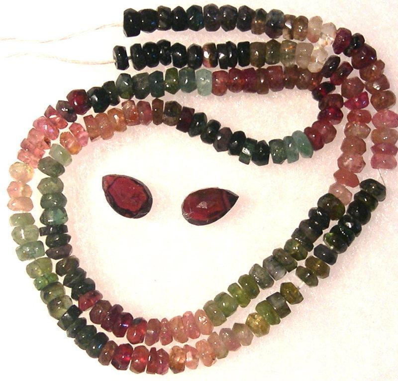 New Unf. Multi Color Tourmaline Rondelle Beads Strand, 2 Briolettes