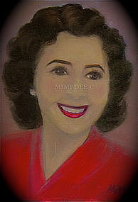Signed American Oil Portrait Octogenarian Glo Remembers Mother's Day