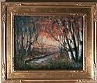 Signed American Original Oil Linen Landscape Painting Birches Stream
