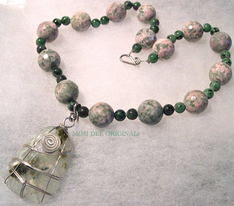Signed Rutilated Quartz Nevada Lapis Sterling Silver Necklace Pendant