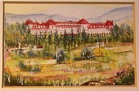 Signed Original American Miniature Watercolor Mt Washington Hotel