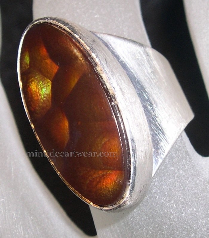 Vintage Signed PR RP Sterling Silver Ring Fire Agate Multi Color Orbs