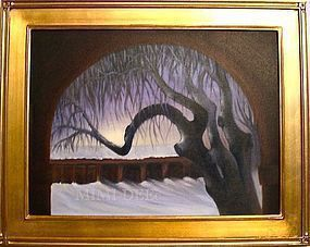 Signed American Oil Landscape Tree Painting Regional Omega Winter