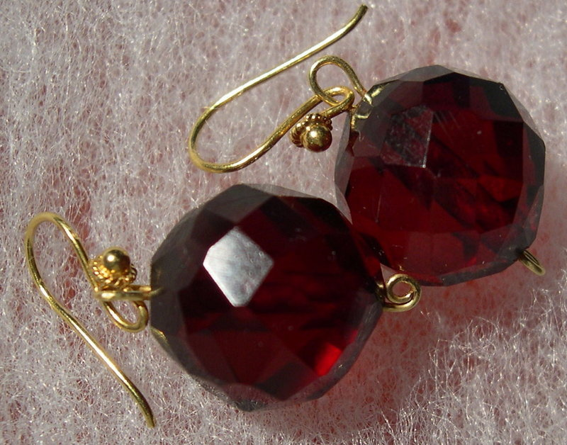 18K Gold Cherry Red Faceted 12mm Bead Drop Earrings