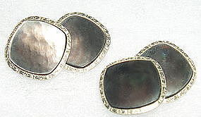 Antique 14K W/Y Gold Larter Abalone Double Side Cufflinks