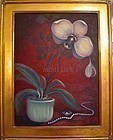Signed American Original Oil Painting Phalaenopsis Orchid Shell Pearl