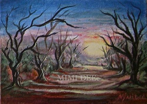 "Signed Original Acrylic Landscape Painting ""Grove"" Trees Luminous"