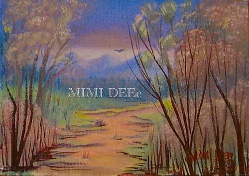 Signed American Oil Landscape Mini Woodland Path III Painting