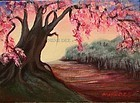 "Signed Original Acrylic Landscape Painting ""Bloom Time"" Tree"