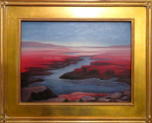 Signed Mimi Dee American Original Landscape Painting Primordial