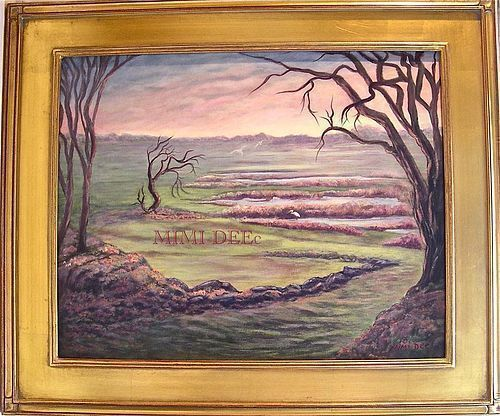 Signed American Landscape Painting Cape Ann Marsh Path