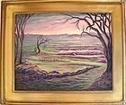 Signed Mimi Dee American Landscape Painting Marsh Path