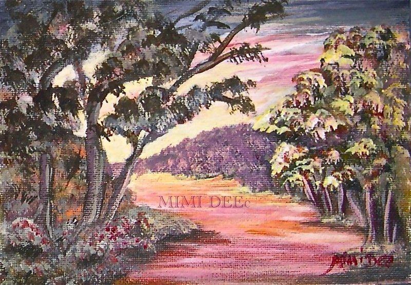 "Signed American Original Acrylic Landscape Painting ""Joyful Path"""