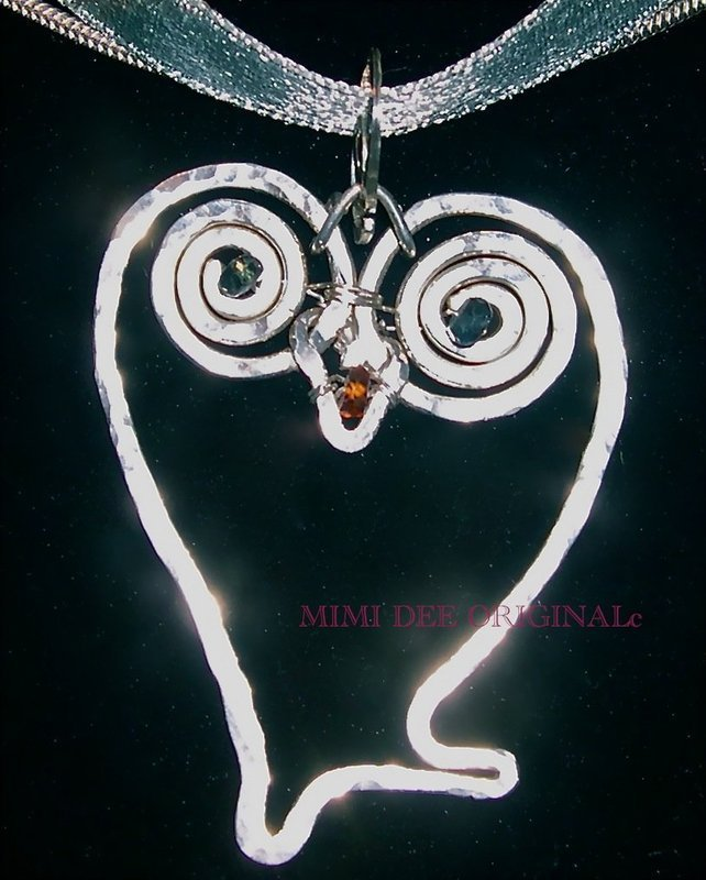 Signed Studio Sterling Silver Hammered Owl Pendant Sapphire Eyes