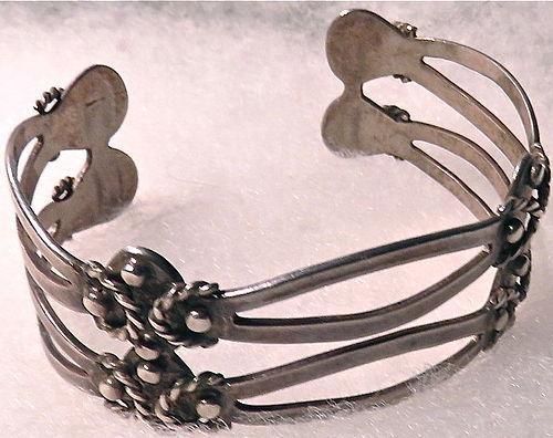 Vintage 980 Taxco Silver Tier Cut Cuff Bracelet Ballesteros? Maricela?