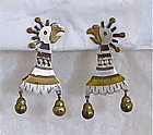 Vintage Los Castillo Taxco Mixed Metales Casados Parrot Earrings #33