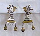 Vintage Los Castillo Taxco Mixed Metales Casados Parrot Earrings #33
