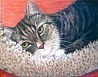 "American Portrait Painting of ""Pooka"" a Rescue Tabby Cat by Mimi Dee"