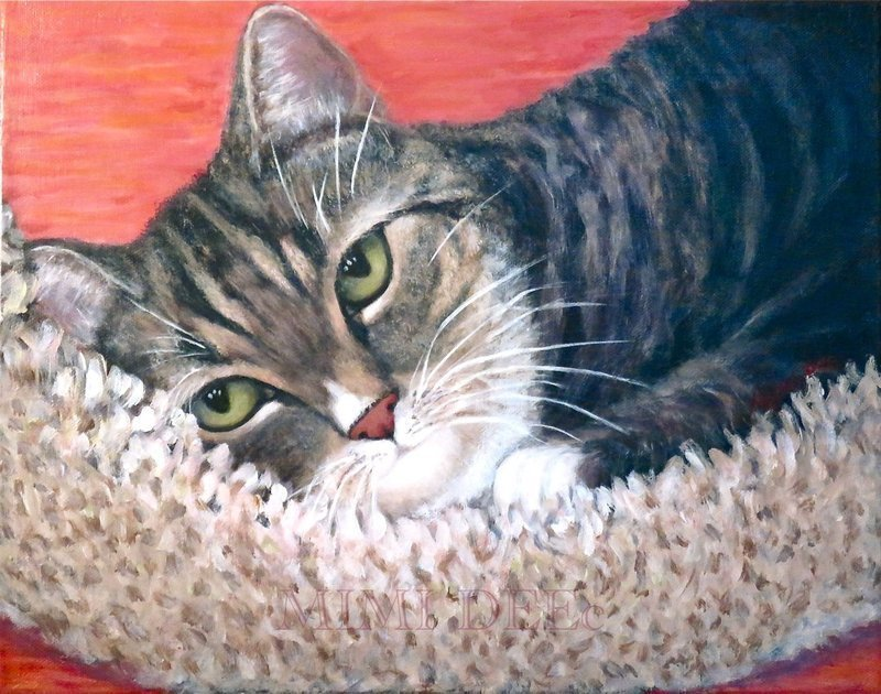 American Signed Mimi Dee Portrait Painting: Pooka Shelter Tabby Cat