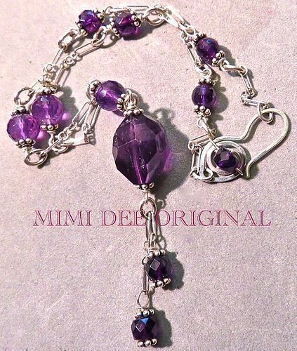 Signed Mimi Dee Sterling Silver Necklace Amethyst Victorian Style