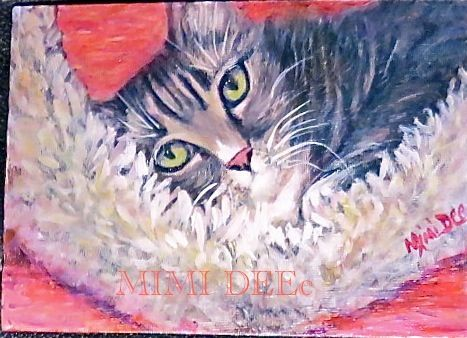Signed Mimi Dee American Study Portrait Painting Grey Tabby Cat
