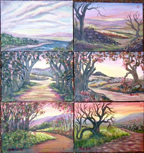 Four Left Ea Signed American Small Study Landscape Paintings Path