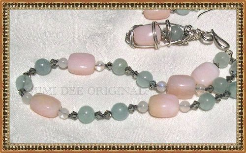 Signed Mimi Dee Sterling Pink Opal Aquamarine Swarovski Necklace