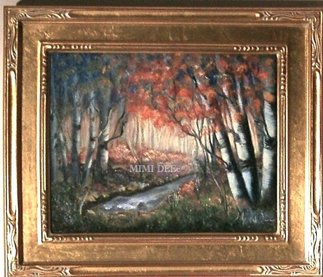 Signed Mimi Dee Oil Linen Landscape Painting Birches and Stream