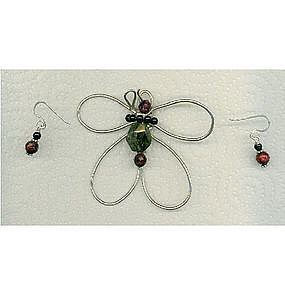 Signed Sterling Silver Butterfly Pendant Green Garnet